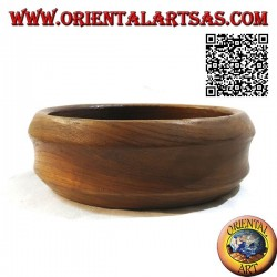 Low pocket emptier bowl with double beveled edge in teak wood