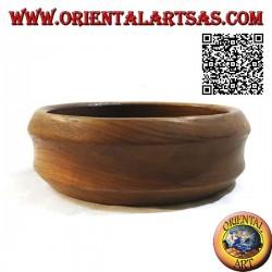 Vide poche basse à double bord biseauté en bois de teck