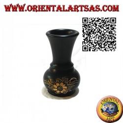 Vase à fleurs ampoule avec fleur gravée à la main en bois d'acajou de 15 cm