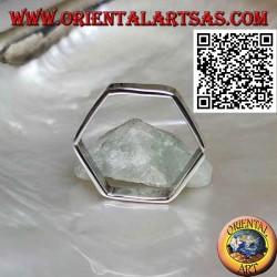 Anello in argento liscio a fascia di forma esagonale