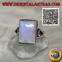 Silver ring with rectangular rainbow moonstone on smooth setting with teardrop opening on the sides