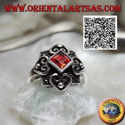 Silver ring with natural rhomboid garnet on a marcasite setting and four hearts