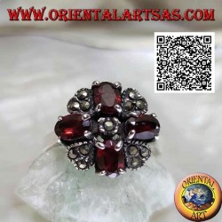 Maltese cross silver ring of natural oval garnets set and marcasite in the middle