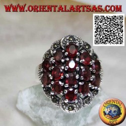 Silver ring with 14 oval garnets set surrounded by marcasite semicircles