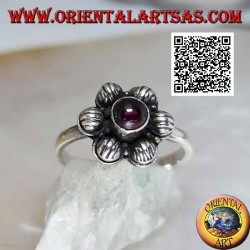6-petal silver flower ring with cabochon round garnet (16)