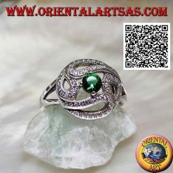 Silver ring with lines of circle zircons and central round synthetic emerald