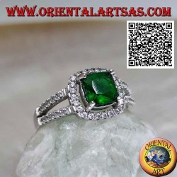 Silver ring with square synthetic emerald set and zircons in the frame and on the two side rows