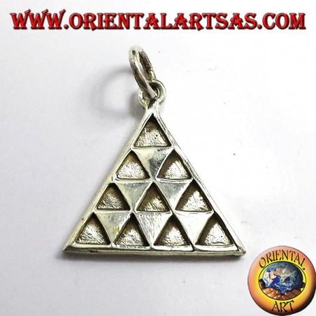 Tetraktys triangle pendant, silver