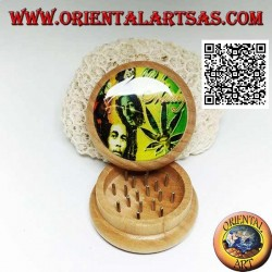 Tobacco grinder in pine wood with image of Bob Marley, 5 cm Ø (3)