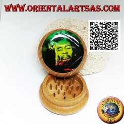 Tobacco grinder in pine wood with image of Bob Marley, 5 cm Ø (4)
