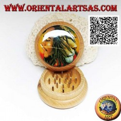 Tobacco grinder in pine wood with image of Bob Marley, 5 cm Ø (5)