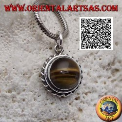 Silver pendant with round tiger eye with horizontal streaks surrounded by a helical line