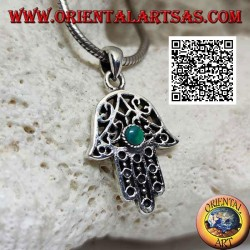 Hand of Fatima silver pendant with perforated ethnic decoration and central round malachite