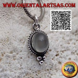 Ciondolo in argento con pietra di luna ovale contornata da intreccio e con tre palline sotto