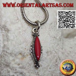 Narrow and elongated shuttle silver pendant with coral surrounded by interweaving