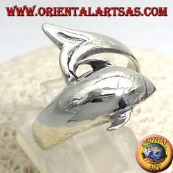 anello delfino in argento