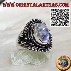 Silver ring with rainbow moonstone on ethnic setting with balls