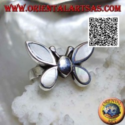 Silver ring in the shape of a butterfly with mother-of-pearl wings
