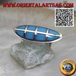 Bague navette en argent lisse avec turquoise carrée sertie au ras du bord