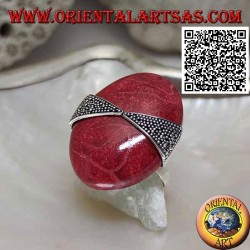 Silver ring with large oval cabochon mother-of-pearl attached by two triangles of balls