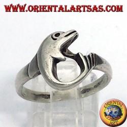 anello delfino arrotolato in argento