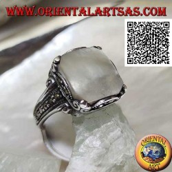 Silver ring with square mother of pearl and marcasite on frame and sides