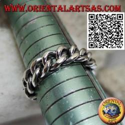Anello in argento fascia liscia a catena morbida classica