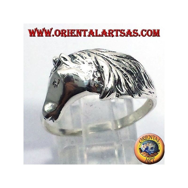 ring horse head with mane, silver