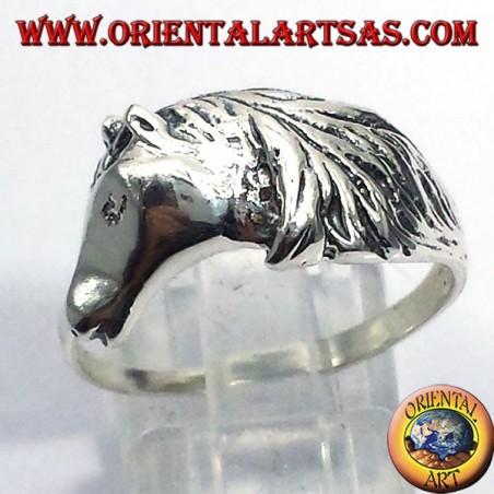 anello testa di cavallo con criniera, in argento