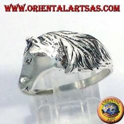 anillo de la cabeza de caballo con la melena, plata