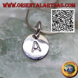 Silver pendant, round medal with engraved capital letter initial