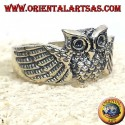 owl ring, silver