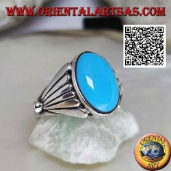 Silver ring with oval cabochon turquoise with smooth fan on the sides