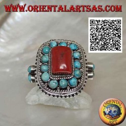 Nepalese style silver ring with antique tube coral and turquoise spheres in frame and on the sides (22)