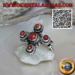 Silver ring with five natural ancient corals of Tibetan origin arranged in a Greek cross