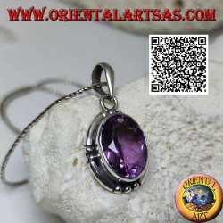 Silver pendant with splendid natural oval large faceted amethyst and smooth edge striped on the 4 cardinal points