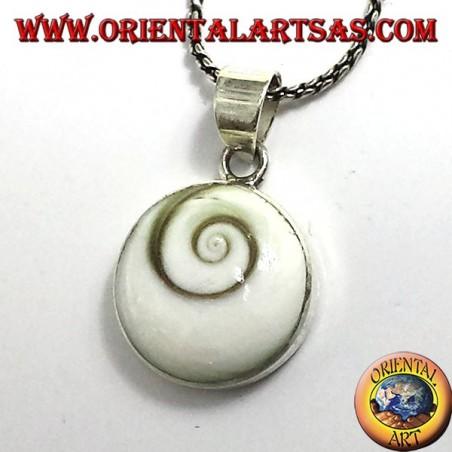 ciondolo conchiglia a spirale bianca (occhio di Santa Lucia), in argento 925