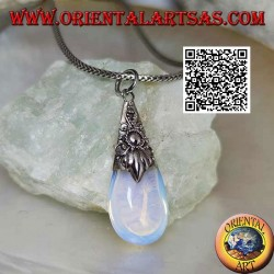 Silver drop pendant with sea opal and embossed decorations