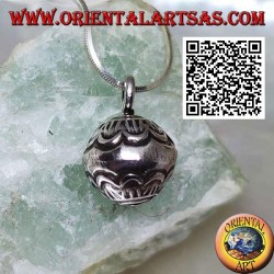 """Small silver """"Call Angels"""" pendant with engraved decorations, Karen style"""