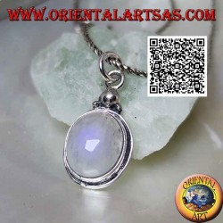 Ciondolo in argento con pietra di luna ovale arcobaleno e tris di palline sopra