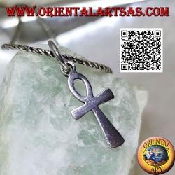 Silberanhänger in Form von Ankh, ägyptisches Kreuz, glatt und klein