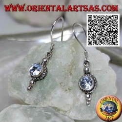 Silver pendant earrings with round natural aquamarine surrounded by intertwining of three balls