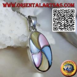 Ovaler Silberanhänger mit mehrfarbigen Perlmutthelices