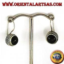 boucles d'oreilles avec onyx jawi rond, argent 925