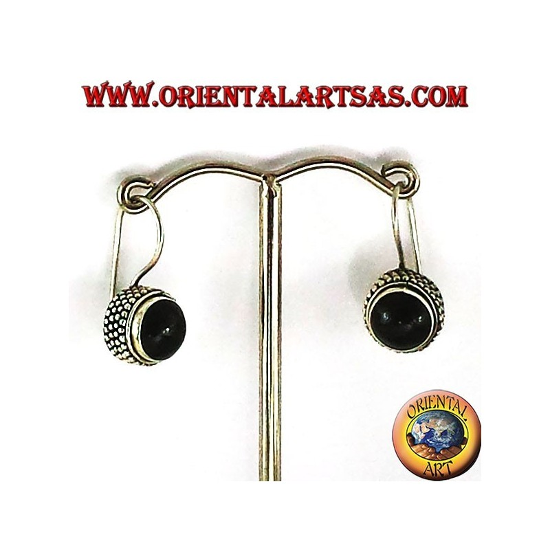 earrings with onyx round jawi, 925 silver