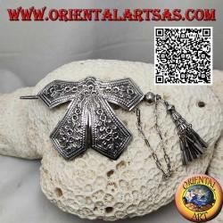 Fermacapelli in argento fiocco cesellato a decorazione floreale chiusura a spillone con pendenti