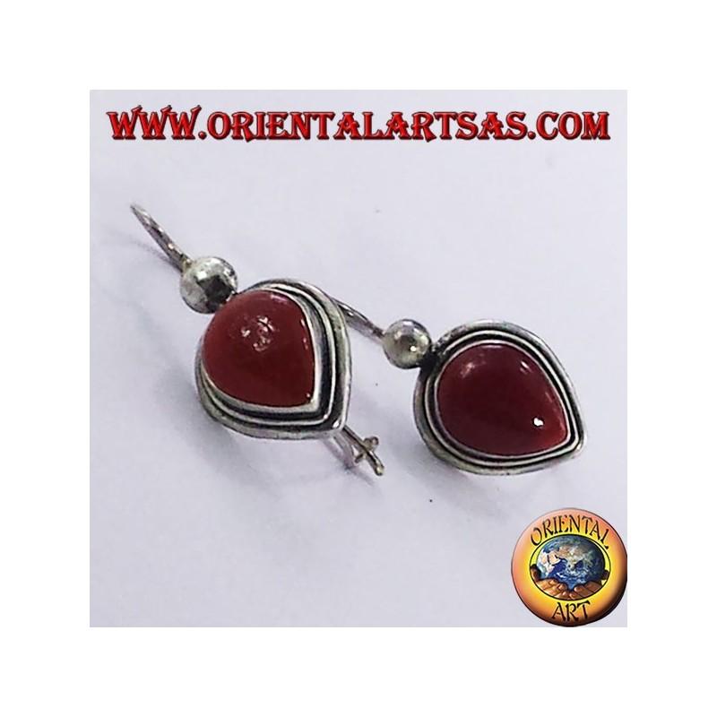 earring with carnelian drop, silver