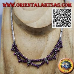 925 ‰ silberne halbstarre Halskette mit doppelter Reihe natürlicher und marasitischer runder Rubine