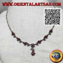Necklace in 925 ‰ silver semi-rigid choker with marcasite flowers and trio of natural round rubies