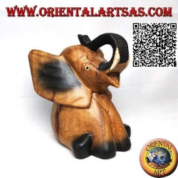 Escultura de elefante bebé con trompa hacia arriba pintada a mano en madera de teca (16 cm)